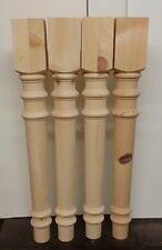 """Knotty pine Wood Table island Legs Unfinished 28"""" X3 1/2 in  set of 4"""