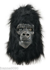 Deluxe Gorilla Full Overhead Fur Latex Rubber Monkey Fancy Dress Costume Mask BN