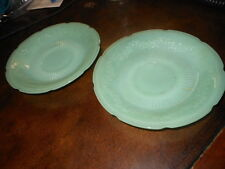 """Lot of 2 Fire King Oven Glass Jadeite Green Plate Plates 6"""" Vintage"""