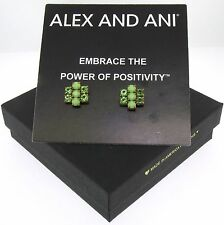 New With Box Alex and Ani Sour Apple Sparkler Earrings Rafaelian Gold A13E12R