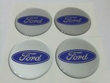 Set of 4 Ford Silver Blue Sticker Self Adhesive Centre Cap Hub 65mm Fiesta Focus
