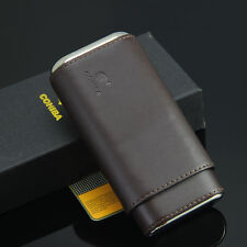 130mm*63 COHIBA Coffee Leather Cedar Lined Cigar Travel Holder Case 3 Count