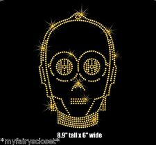 "8.9"" Star Wars C3PO iron on rhinestone transfer applique patch bling"