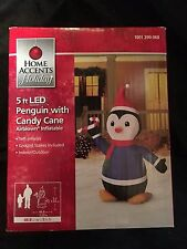 5' LED Penguin w/ Candy Cane Yard Inflatable - Holiday Airblown Yard Decor 36841