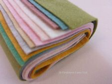 "Wool Craft Felt Bundle - 10 Sheets x 9"" Square - Assorted Pastel Colours - GIFT"