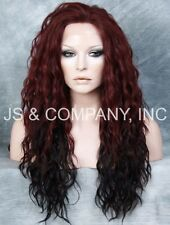 Burgundy Wine mix  HEAT SAFE Lace Front Wig Wispy Wavy Long Layered NGFT cbrd