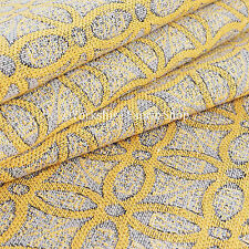 10 Metre Of Yellow Medallion Inspired Geometric Pattern Woven Upholstery Fabric