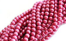 100 Light Raspberry Glass Pearl Round Beads 4MM LIMITED