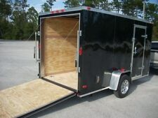 6x12 Enclosed Trailer Cargo Single Axle V-Nose Lawn Motorcycle 10 14 Landscape