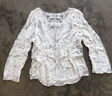 M New Anthropologie White Eyelet Crochet Lace Detail Boho Blouse Top - Medium