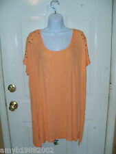 Mossimo Apricot Tee W/Design on Shoulders Size 2X Women's NEW LAST ONE