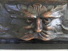 Large Victorian Carved Oak Masked Green Devil Man Over door Panel