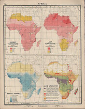 1939 MAP ~ AFRICA JANUARY & JULY TEMPERATURE ANNUAL RAINFALL & LAND UTILISATION