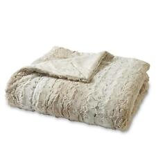 Ivory Striped Faux Fur Throw Blanket Large Oversize Snuggle Soft Lounge Cover