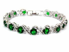 Silver Emerald And White Topaz 16ct Bracelet (925)