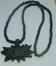 GOOD WOOD BLK POW CARVED WOOD BEADED CHAIN NECKLACE~NEW~HIP HOP FASHION JEWELRY