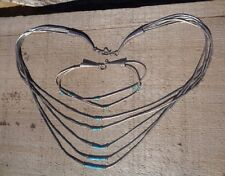 Vintage Native American Turquoise Liquid Sterling Silver Necklace Bracelet Set