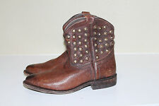 New Frye Wyatt Disc Brown Leather Short Ankle Riding Boots Shoes sz 7.5