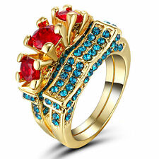 Gold filled Women Wedding Engagement Ring Set Red Ruby Bridal Size 7 Halo Cut