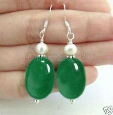 NATURAL OVAL GREEN JADE & REAL WHITE CULTURED PEARL SILVER HOOK DANGLE EARRINGS