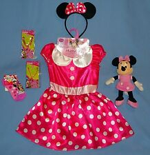 Disney Minnie Mouse costume dress girls-4-6X;socks;jewelry;ears;euc-plush doll