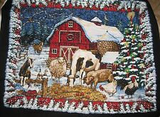 Winter Animal Barn Scene Christmas Fabric By the Panel black quilting country