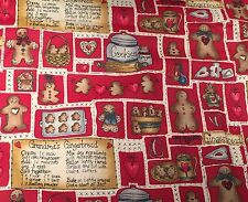 "3 Yds 45.5"" W Dianna Marcum Grandma's Gingerbread Cookies RED Vtg Cotton Fabric"