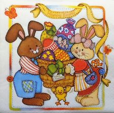 4 X PAPER NAPKINS happy EASTER bunny family  DECOUPAGE TABLE CRAFTING   W5