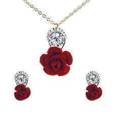 18k Gold Plated Red/Blue Rose Flower Rhinestone Pendant Necklace +Earrings Set