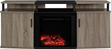 """Altra Furniture Carson Fireplace TV Console, 70"""", Sonoma Oak/Black"""