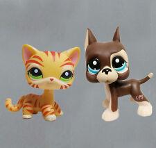 littlest pet shop LPS figure Brown Great Dane Dog & orange tiger striped Cat#6