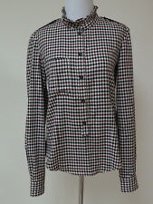 Isabel Marant Etoile Shirt Ruffle Collar Checked Cotton Burgundy/Cream Size 38