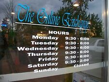 "Custom Business Store Hours Sign, Any Font Business Vinyl Decal, Up To 12""Hx18""W"