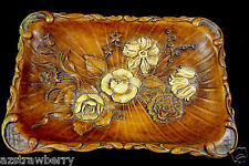 VYG Multi Products 1944 Resin Brown Floral Cameo Platter Tray Dish