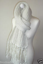 Chunky Ivory Stone Knitted Long Scarf Soft Feel with Tassels