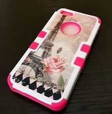 For iPhone SE 5S HARD & SOFT RUBBER HYBRID ARMOR CASE PINK FLOWER EIFFEL TOWER