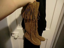 Brown knee high fringe boots size 4