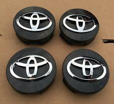 NEW 4 PC SET  TOYOTA  BLACK CENTER WHEEL HUB CAPS CHROME LOGO EMBLEM