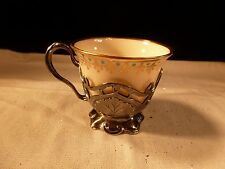 ANTIQUE ART NOUVEAU GORHAM STERLING SILVER DEMITASSE CUP WITH LENOX CHINA LINER