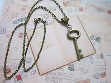 Key  Antique bronze tone Charm Pendant  Necklace Steampunk Vintage fancy gift.