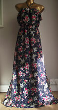 MONSOON NAVY BLUE DITSY FLORAL FRILL SUMMER HOLIDAY BEACH MAXI DRESS LARGE 14