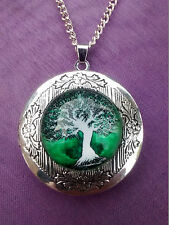TREE OF LIFE HINGED LOCKET GLASS CABOCHON PENDANT & NECKLACE Wiccan Pagan