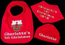 PERSONALISED MY 1ST CHRISTMAS SET NEW BABY BIB GIFT BOY GIRL XMAS FIRST HAT RED