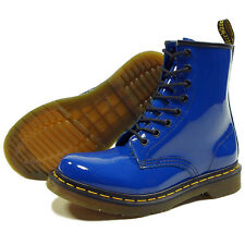 New DOC DR MARTENS AIRWAIR ROYAL BLUE PATENT LACE UP COMBAT BOOTS WOMENS 7 RARE