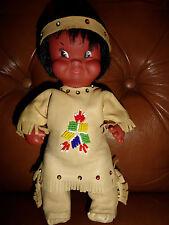 """Vintage Native American Indian Boy Alaskan Doll Deerskin Leather Clothing 10"""""""