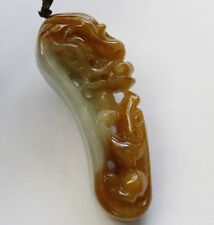 Certified Natural  A  Untreated Yellow Jadeite Jade Dragon Pixiu Pendant 望子成龙