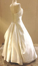 OLEG CASSINI IVORY WEDDING DRESS SPAGHETTI STRAPS BEADS ELEGANT TRAIN