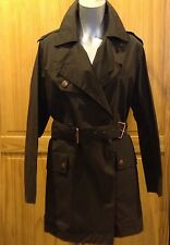 $1800  CELINE brown trench 3/4 women double Brest coat size 40-42