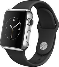 Apple Watch 42mm Stainless Steel Silver Case Black Sport Band - 1 YEAR WARRANTY