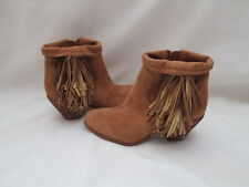 "SAM EDELMAN ""LOUIE"" FRINGE SUEDE BOOTIE ANKLE BOOTS CUFFED BROWN  SIZE 7.5"